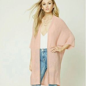 Long Blush sheer cardigan with dolman sleeves.